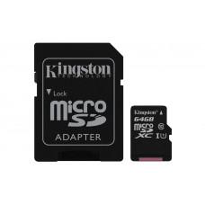 Карта памяти Kingston microSDXC 64GB Class 10 R90/W45MB/s + SD адаптер